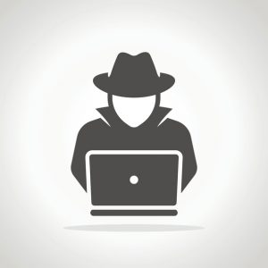 Ransomware Hacker, hacking into laptop